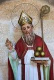 Saint Nicholas. Statue of Saint Nicholas of Bari in the church of San Francisco in the historic town Betanzos, Galicia, Spain. Saint Nicholas is holding three Stock Photo