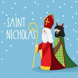 Saint Nicholas walking with devil and falling snow. Cute Christmas invitation card, vector illustration, winter. Saint Nicholas walking with devil and falling Royalty Free Stock Photos