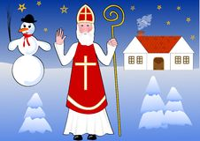 Saint Nicholas walks snowy night landscape, old country house and snowman on background Stock Photography