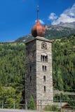 Saint Nicolas bell tower in Swiss Alps. Nice Saint Nicolas bell tower in Swiss Alps royalty free stock photo