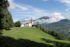 Saint Nicolas church. Saint Nicolas' church (ITALY) and view of high Aosta Valley Stock Photography