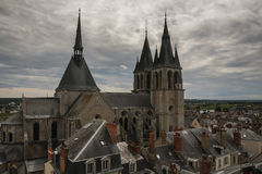 Saint-Nicolas church in Blois, France. Church is Blois in Roman style built in XII century Stock Photography