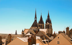 Saint-Nicolas church and roofs, Blois in Loire valley , France. Royalty Free Stock Image