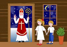 Saint Nicolas in the door of wooden house. Two cute children waiting in room. stock illustration