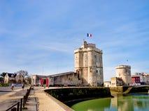 Saint Nicolas en Kettingstoren in La Rochelle, Frankrijk Stock Fotografie