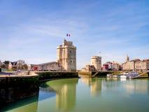 Saint Nicolas en Kettingstoren in La Rochelle, Frankrijk Stock Afbeeldingen