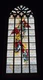 Saint-Nicolas parish church. ENGHIEN, BELGIUM-NOVEMBER 2: Stained glass window in Saint-Nicolas parish church on November 2, 2013 in Enghien, Belgium. The church Royalty Free Stock Image