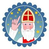 Saint Nicolas portrait in circle shape. Stock Photos