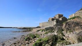 Saint-Nicolas priory in la Chaume stock footage