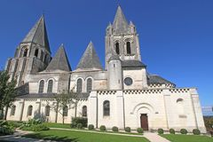 Saint Oars Church, Loches. Medieval church of St Oars in France Royalty Free Stock Image