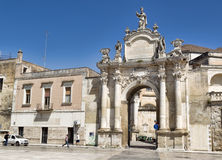 Saint Orontio Gate made baroque them is the old city of Lecce. Royalty Free Stock Image