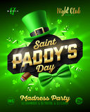 Saint Paddy`s Day party poster design stock illustration