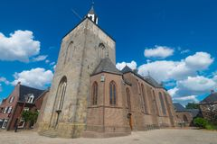Saint Pancratius Basilica in Tubbergen, the Netherlands. With blue sky and clouds stock photo