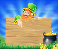 Saint Particks Day Leprechaun Sign Stock Image