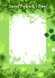 Saint Patric's day grunge background, green, floral. With white sheet for letter Stock Photo