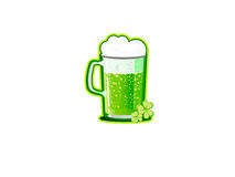 Saint Patrick's Day background. Saint Patrick's Day white background with clovers and beer Stock Photo