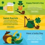 Saint Patrick banner horizontal set, flat style. Saint Patrick banner horizontal concept set. Flat illustration of 3 Saint Patrick vector banner horizontal Stock Images