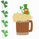 Saint Patrick with beer and clover Royalty Free Stock Photos