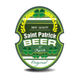 Saint Patrick beer label Royalty Free Stock Images