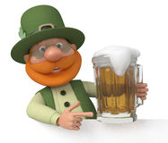 Saint Patrick with a billboard and beer Stock Photo