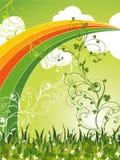 Saint patrick clovers field and rainbow. Saint patrick field of clovers and rainbow Stock Photo