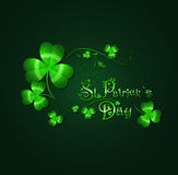 Saint Patrick Day. Background With Floral Decorated Greeting in Green Royalty Free Stock Image
