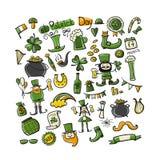 Saint Patrick Day, ajustou ícones Esboço para seu projeto Imagem de Stock