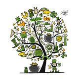 Saint Patrick Day, art tree. Sketch for your design Stock Photos