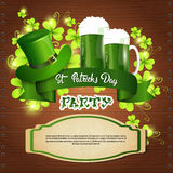 Saint Patrick Day Beer Festival Banner Greeting Card. Flat Vector Illustration Stock Photography