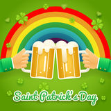 Saint Patrick Day Celebration Success and Prosperity Symbol Hands Holds Mug of Beer with Foam Icon on Stylish Background Royalty Free Stock Photo