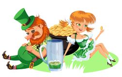 Saint patrick day characters, leprechaun and girl with mug of green beer, glass full alcohol ale, drunk man in cylinder Stock Photo
