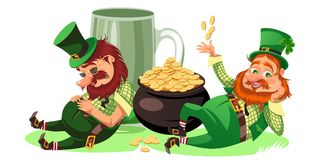 Saint patrick day characters, leprechaun with mug of green beer, glass full alcohol ale, drunk man in cylinder symbol of. Luck shamrock, cartoon elf sits near vector illustration