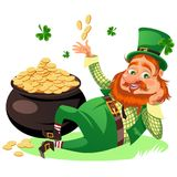 Saint patrick day characters, leprechaun with Red beard man in cylinder symbol of luck shamrock, cartoon elf sits near. Pot full gold money isolated on white vector illustration