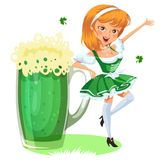 Saint patrick day characters, sexy girl in stockings with mug of green beer, glass full alcohol ale, woman in short Stock Photography