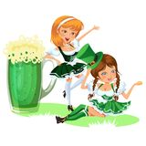 Saint patrick day characters, sexy girl in stockings with mug of green beer, glass full alcohol ale, woman in short Stock Photo