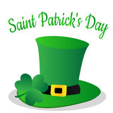 Saint Patrick Day with clover leaf and green hat. Saint Patrick Day with clover leaf and green hat stock illustration