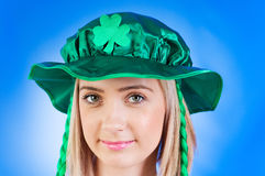 Saint Patrick day concept. With young girl Stock Photos