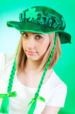 Saint Patrick day concept. With young girl Royalty Free Stock Photo