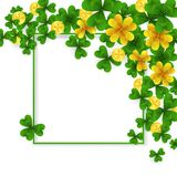 Saint Patrick Day border with green and gold four and tree Leaf clovers and golden coins on white background. Party. Saint Patrick Day corner decoration with Royalty Free Stock Image