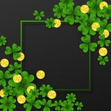 Saint Patrick Day frame with corner decoration green , gold four and tree Leaf clovers,golden coins on white background. Party invitation template.Lucky Royalty Free Stock Photo