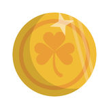 Saint patrick day golden coin shamrock icon Stock Images