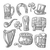 Saint Patrick Day. hat, Pot coins, pipe, beer, lyre, horseshoe Royalty Free Stock Photography