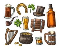 Saint Patrick Day. hat, Pot coins, pipe, beer, lyre, horseshoe. Saint Patrick s Day. Top gentleman hat, Pot of gold coins, whiskey, smoking pipe, beer glass Stock Photos