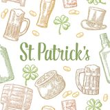 Saint Patrick Day. hat, Pot coins, pipe, beer, lyre, horseshoe. Seamless pattern Saint Patrick s Day. Top gentleman hat, pot of gold coins, pipe, beer glass Royalty Free Stock Image