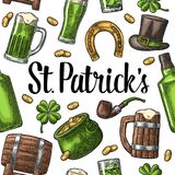 Saint Patrick Day. hat, Pot coins, pipe, beer, lyre, horseshoe. Seamless pattern Saint Patrick s Day. Top gentleman hat, pot of gold coins, pipe, beer glass Stock Photo