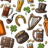 Saint Patrick Day. hat, Pot coins, pipe, beer, lyre, horseshoe. Seamless pattern Saint Patrick s Day. Top gentleman hat, pot of gold coins, pipe, beer glass Royalty Free Stock Photo