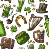 Saint Patrick Day. hat, Pot coins, pipe, beer, lyre, horseshoe Stock Image