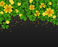Saint Patrick Day horizontal seamless border with golden shimmer,green,gold four,three Leaf clovers and golden coins on. Black background. Party invitation Royalty Free Stock Photo