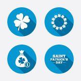 Saint Patrick day icons. Money bag with clover Royalty Free Stock Photos