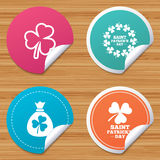 Saint Patrick day icons. Money bag with clover. Round stickers or website banners. Saint Patrick day icons. Money bag with clover sign. Wreath of trefoil Royalty Free Stock Photos